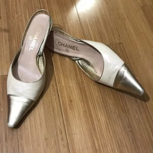 Chanel Cap Toe Sling Back Heels